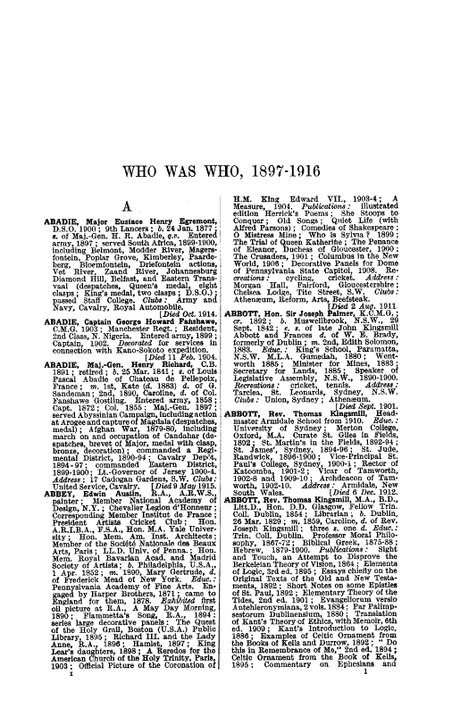 Who Was Who 1897-1916 page 1 - click to open larger version in a new window