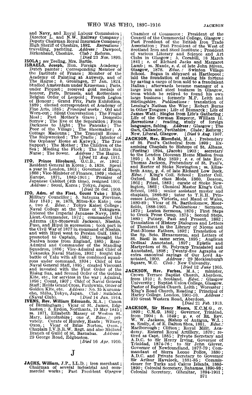 Who Was Who 1897-1916 page 371 - click to open larger version in a new window