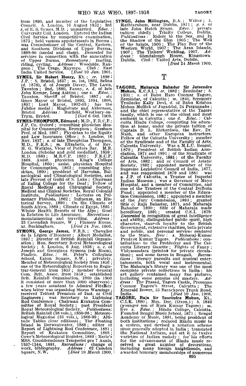 Who Was Who 1897-1916 page 695 - click to open larger version in a new window