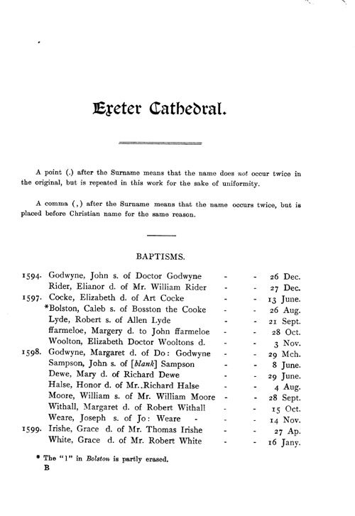The Registers of Exeter Cathedral page 1 - click to open larger version in a new window