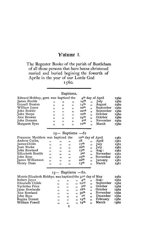 The Registers of Bisham page 1 - click to open larger version in a new window