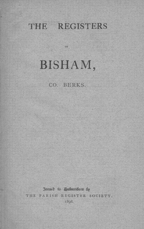 The Registers of Bisham page cover1