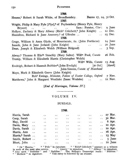 The Registers of Plymtree page 150 - click to open larger version in a new window