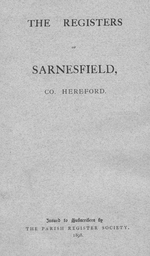 The Registers of Sarnesfield 1660-1897 page i - click to open larger version in a new window