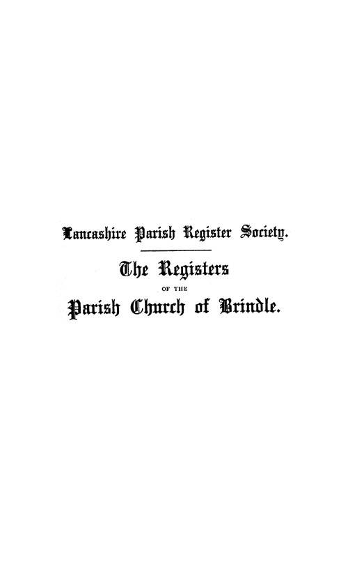 The Registers of Brindle 1558-1714 page i - click to open larger version in a new window