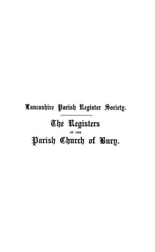 The Registers of Bury, 1617-1646 page i