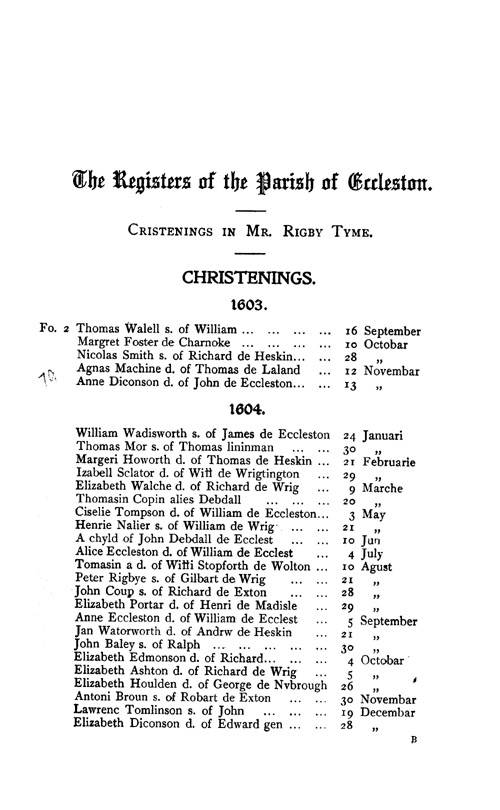 The Registers of Eccleston 1603-1694 page 1 - click to open larger version in a new window