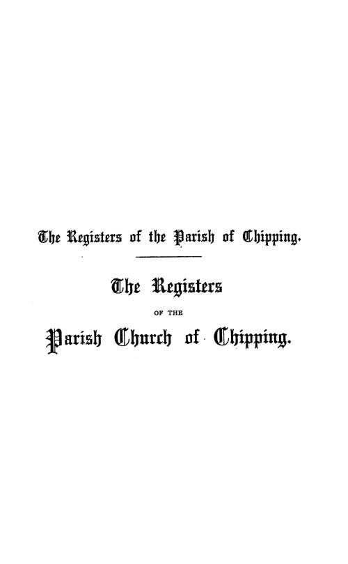 The Registers of Chipping 1559-1694 page i - click to open larger version in a new window