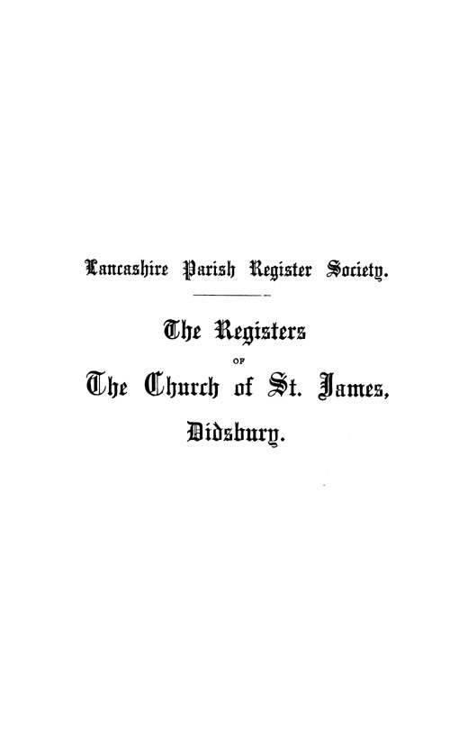 The Registers of St James, Didsbury 1561-1757 pt1 page i - click to open larger version in a new window