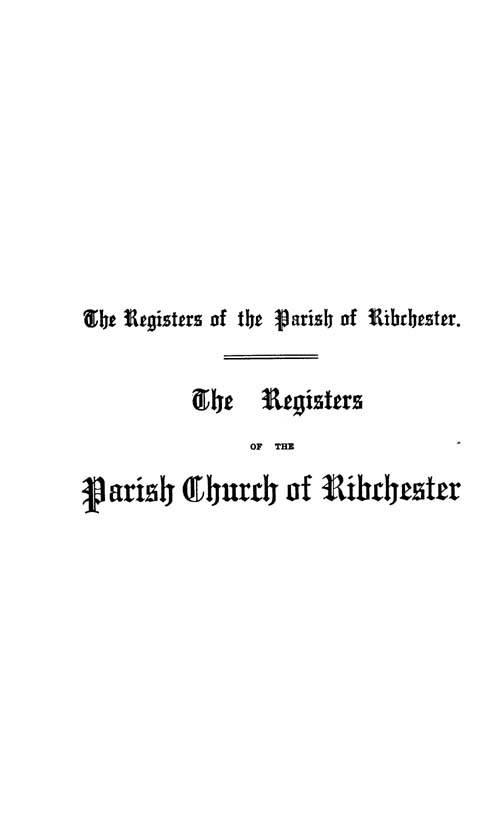 The Registers of Ribchester 1598-1694 page i - click to open larger version in a new window