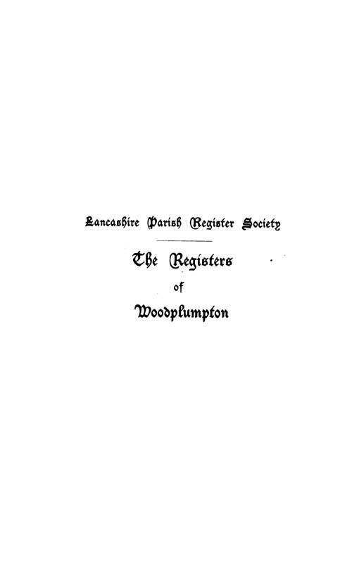 The Registers of Woodplumpton 1604-1659 page i
