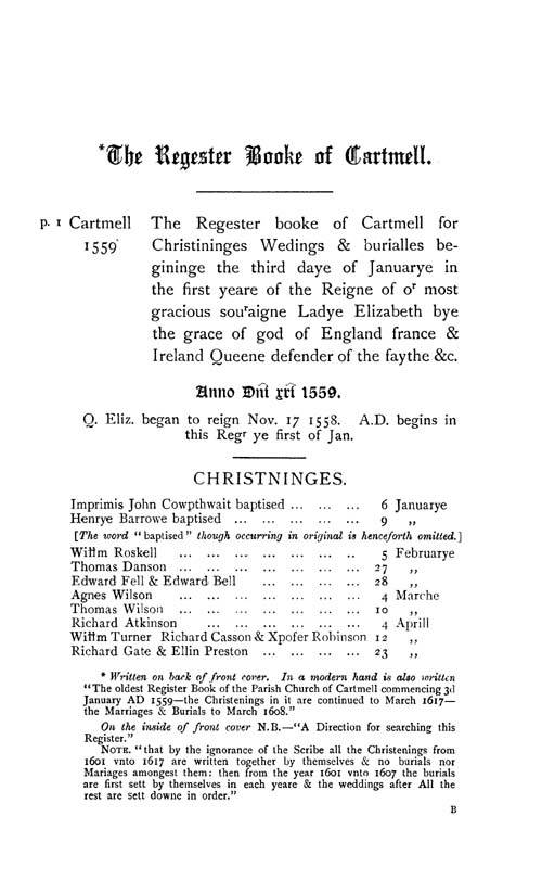 The Registers of Cartmel 1559-1661 page 1 - click to open larger version in a new window