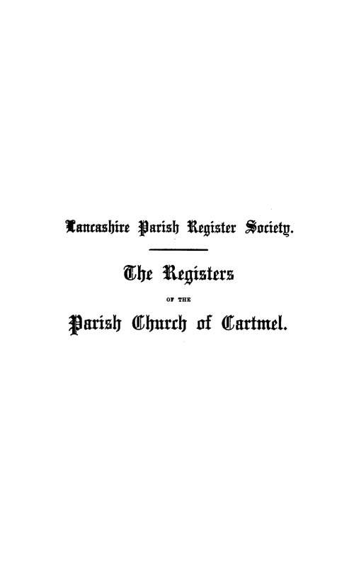 The Registers of Cartmel 1559-1661 page i