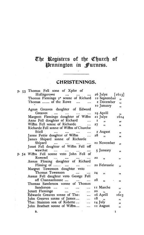 The Registers of St. Michael's, Pennington in Furness 1612-1702 page 1 - click to open larger version in a new window