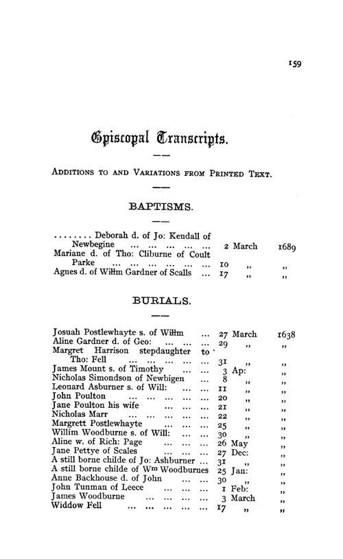 The Registers of Aldingham in Furness 1542-1695 page 159 - click to open larger version in a new window