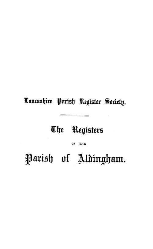The Registers of Aldingham in Furness 1542-1695 page i - click to open larger version in a new window