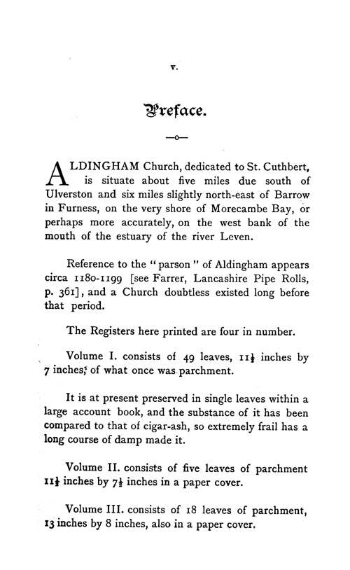The Registers of Aldingham in Furness 1542-1695 page v - click to open larger version in a new window
