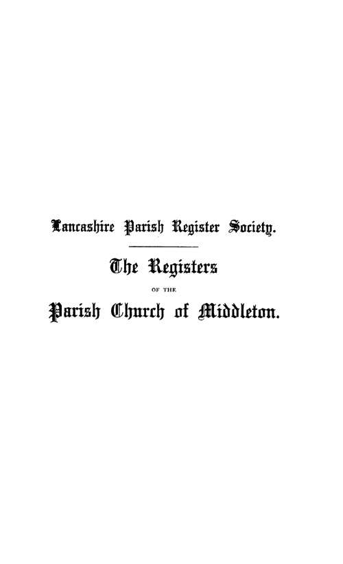 The Registers of Middleton 1653-1729 page i