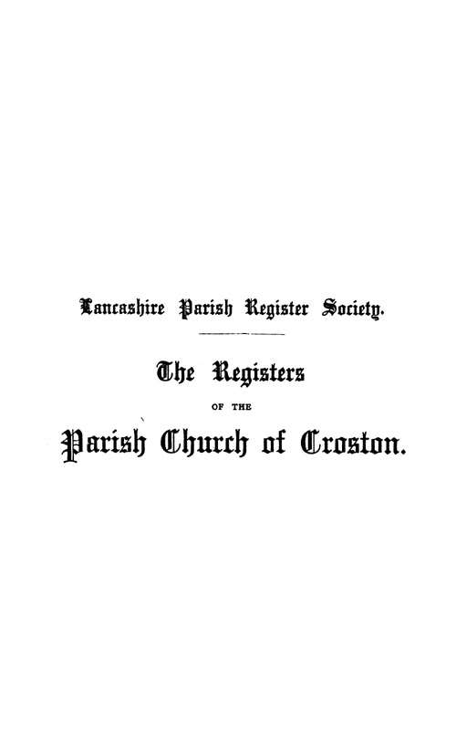 The Registers of Croston 1538-1727 pt1 page i