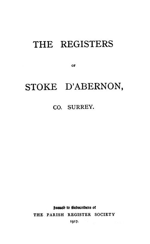 The Registers of Stoke D'Abernon page cover - click to open larger version in a new window
