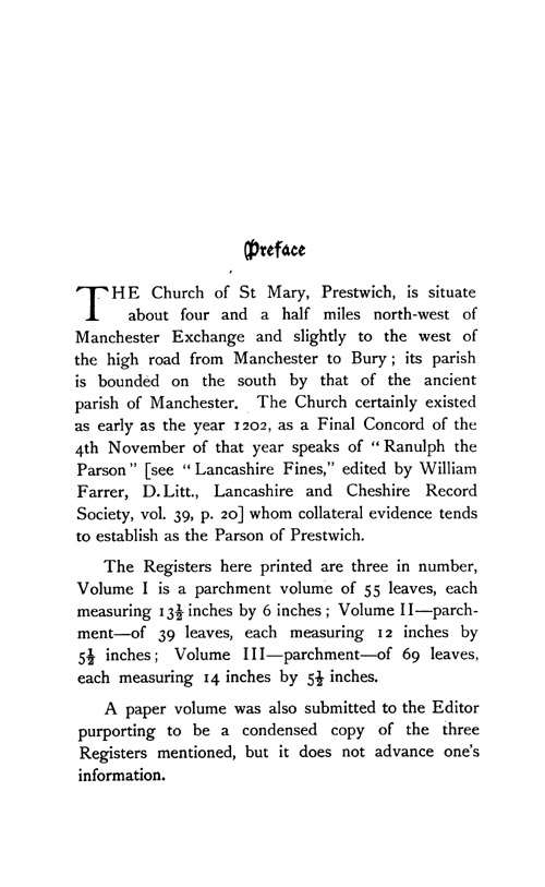 The Registers of Prestwich 1603-1688 page v - click to open larger version in a new window