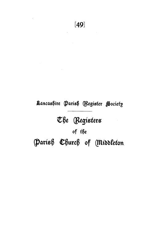 The Registers of Middleton 1729-1752 page i - click to open larger version in a new window