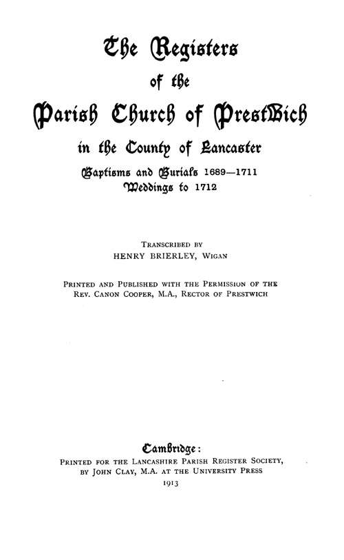The Registers of Prestwich 1689-1711 page iii - click to open larger version in a new window