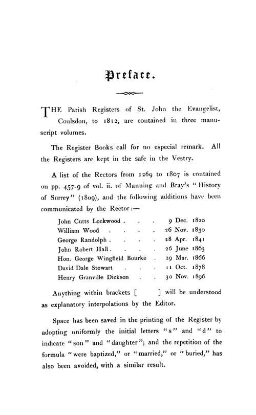 The Registers of Coulsdon 1653-1812 page iii - click to open larger version in a new window