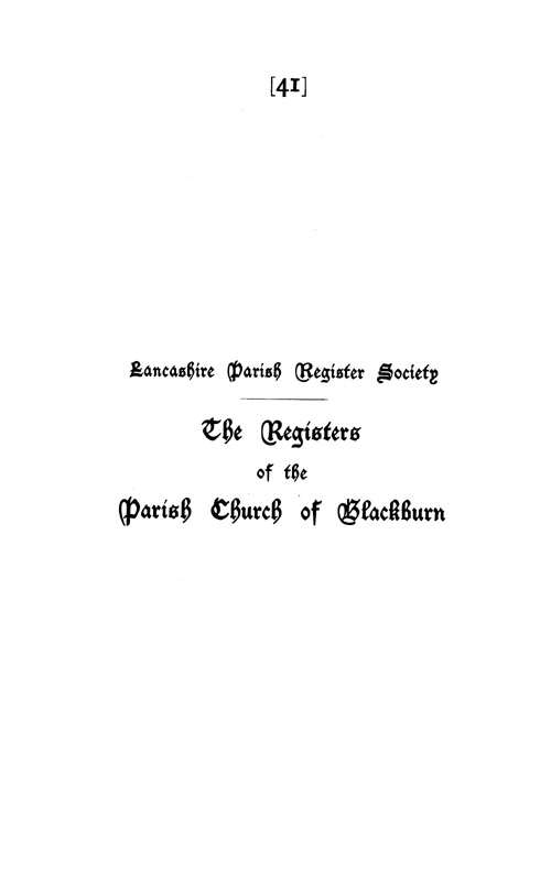 The Registers of Blackburn 1600-1660 page i
