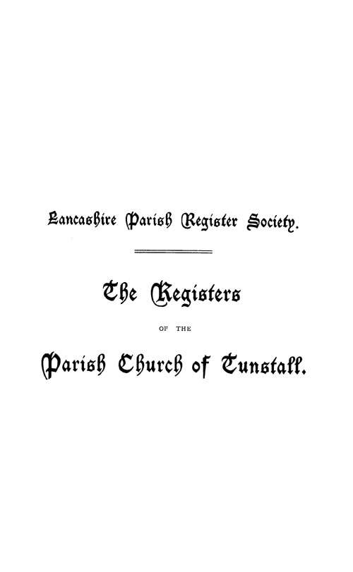The Registers of Tunstall 1625-1812 page i - click to open larger version in a new window