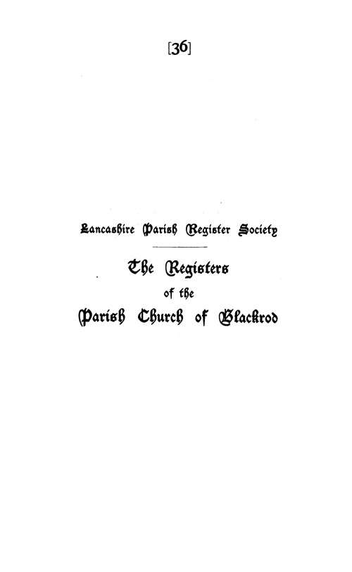 The Registers of Blackrod 1606-1701 page i - click to open larger version in a new window