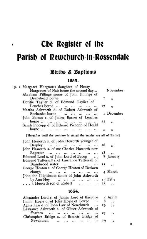 The Registers of Newchurch in Rossendale 1653-1723 page 1 - click to open larger version in a new window