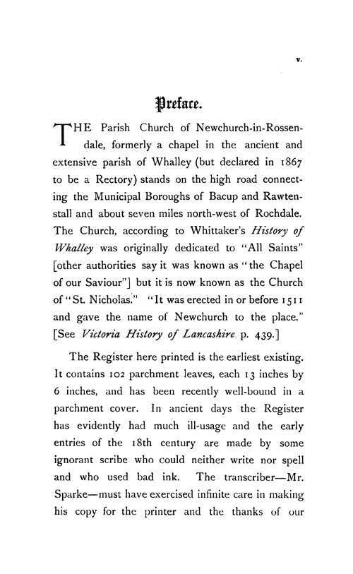 The Registers of Newchurch in Rossendale 1653-1723 page v - click to open larger version in a new window