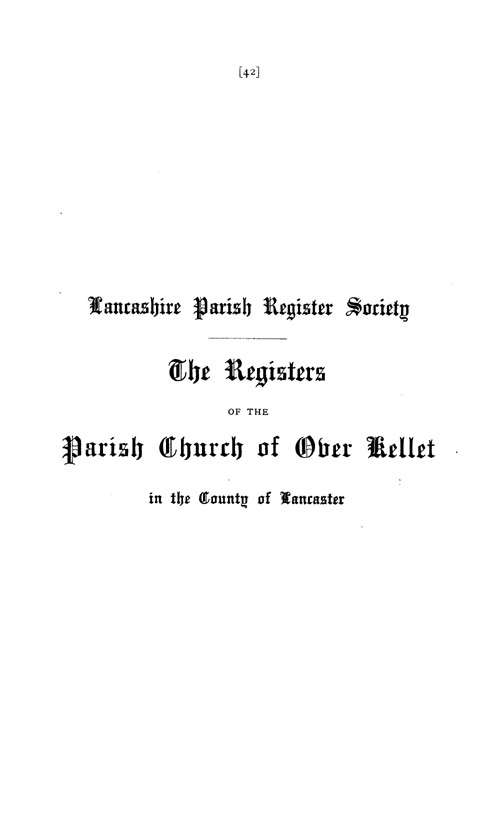 The Registers of Over Kellet 1648-1812 page i