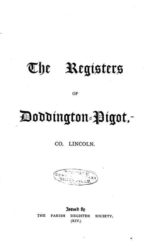 The Registers of Doddington-Pigot page i - click to open larger version in a new window