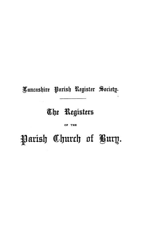 The Registers of Bury, 1647-1698 page i - click to open larger version in a new window