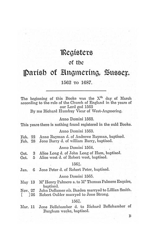 The Registers of Angmering, 1562-1687 page 1 - click to open larger version in a new window