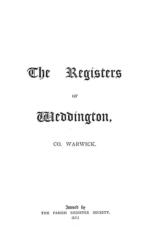 The Registers of Weddington, 1663-1812 page i - click to open larger version in a new window