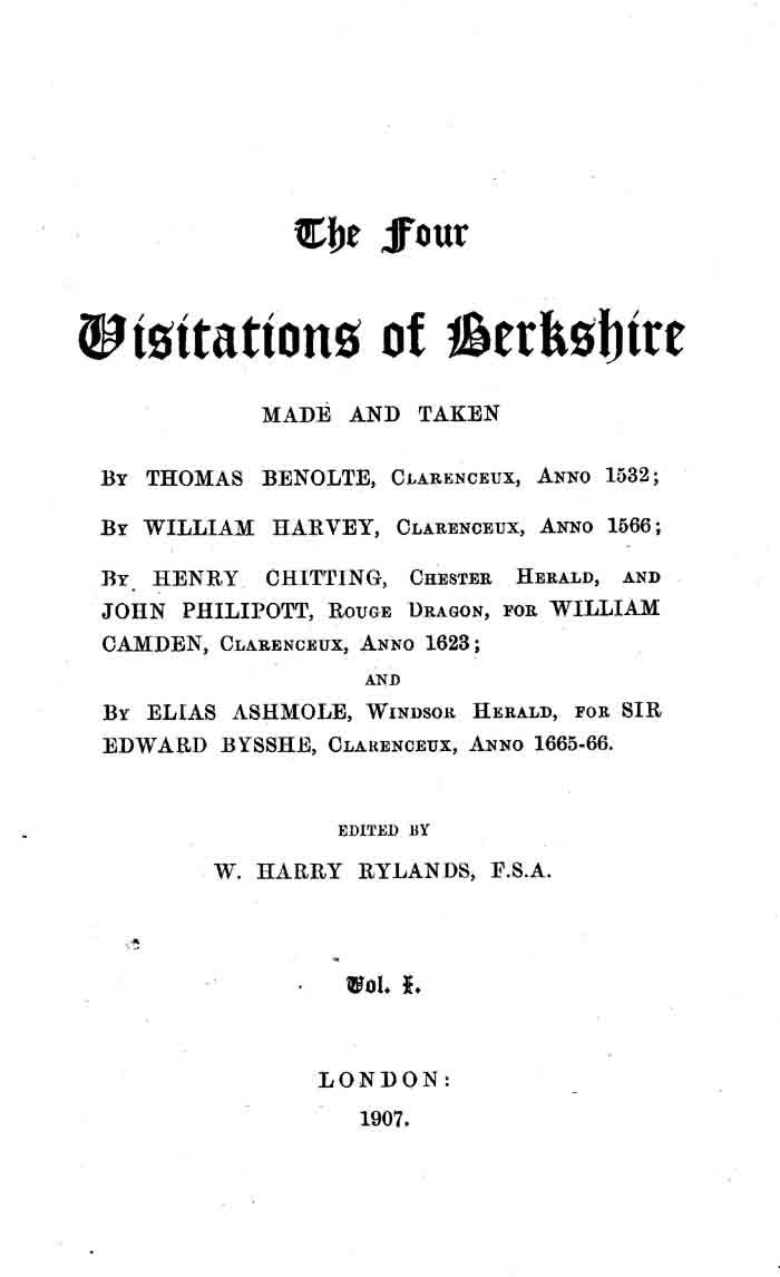 The Four Visitations of Berkshire, 1532, 1566, 1623, and 1665-66 volume 1 page iii - click to open larger version in a new window