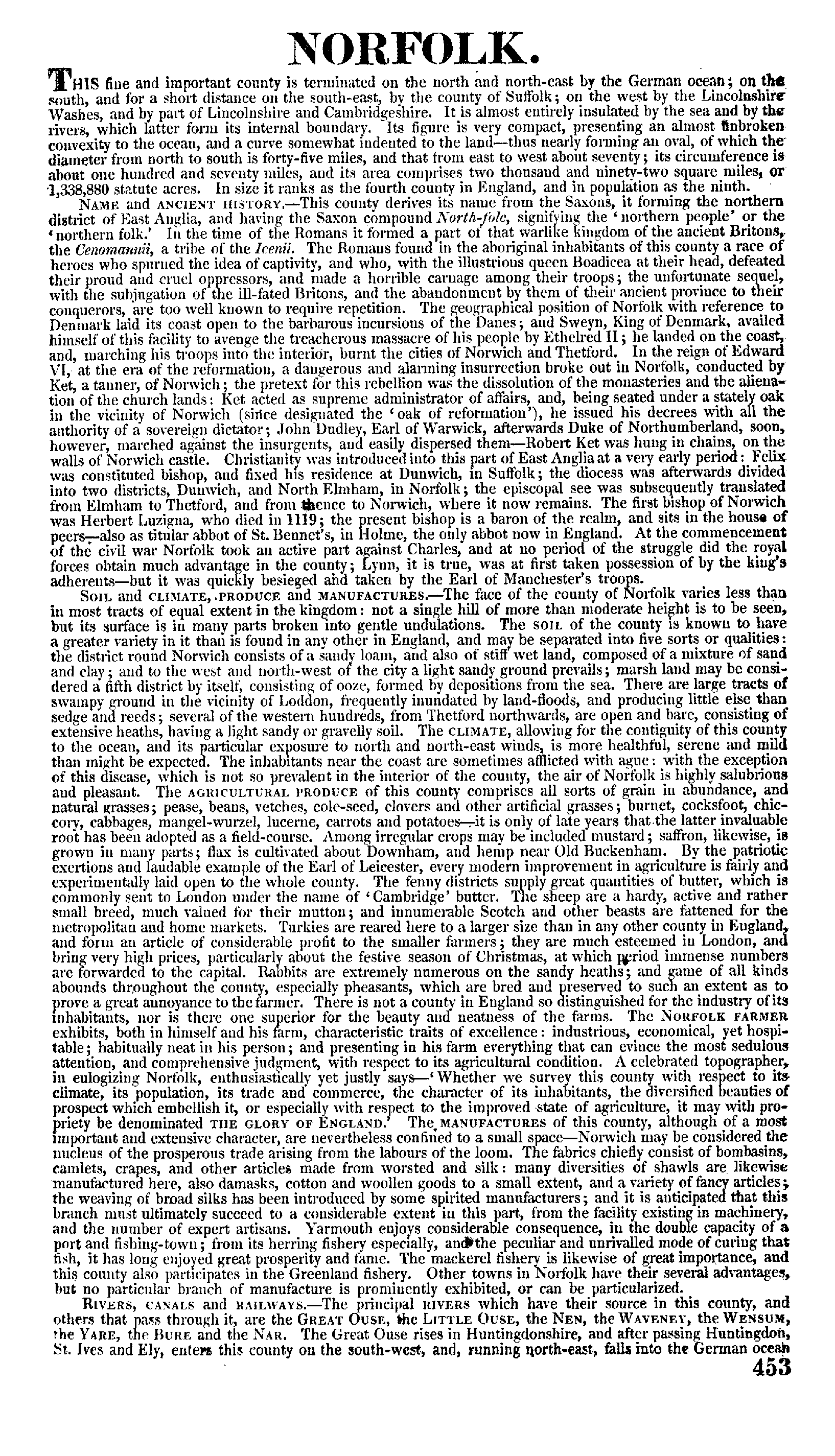 Pigot Directory of Norfolk, 1840 page 453 - click to open larger version in a new window