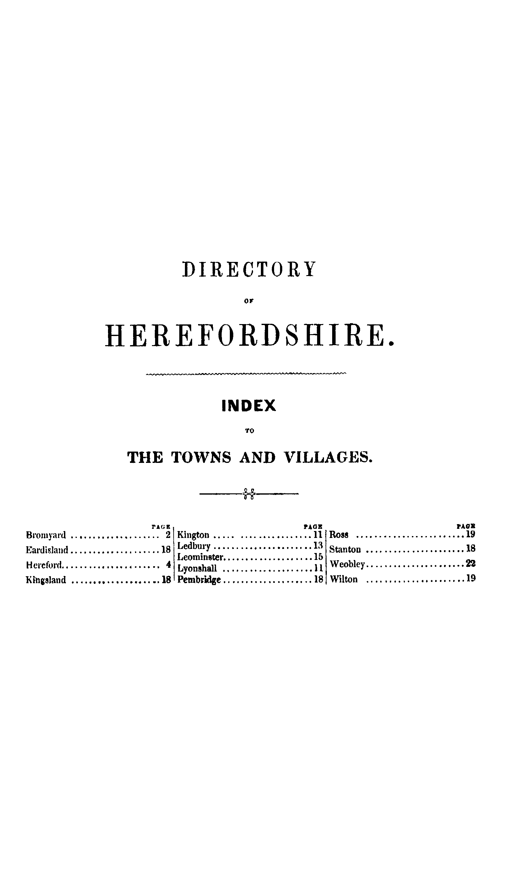 Pigot Directory of Herefordshire, 1842 page index - click to open larger version in a new window