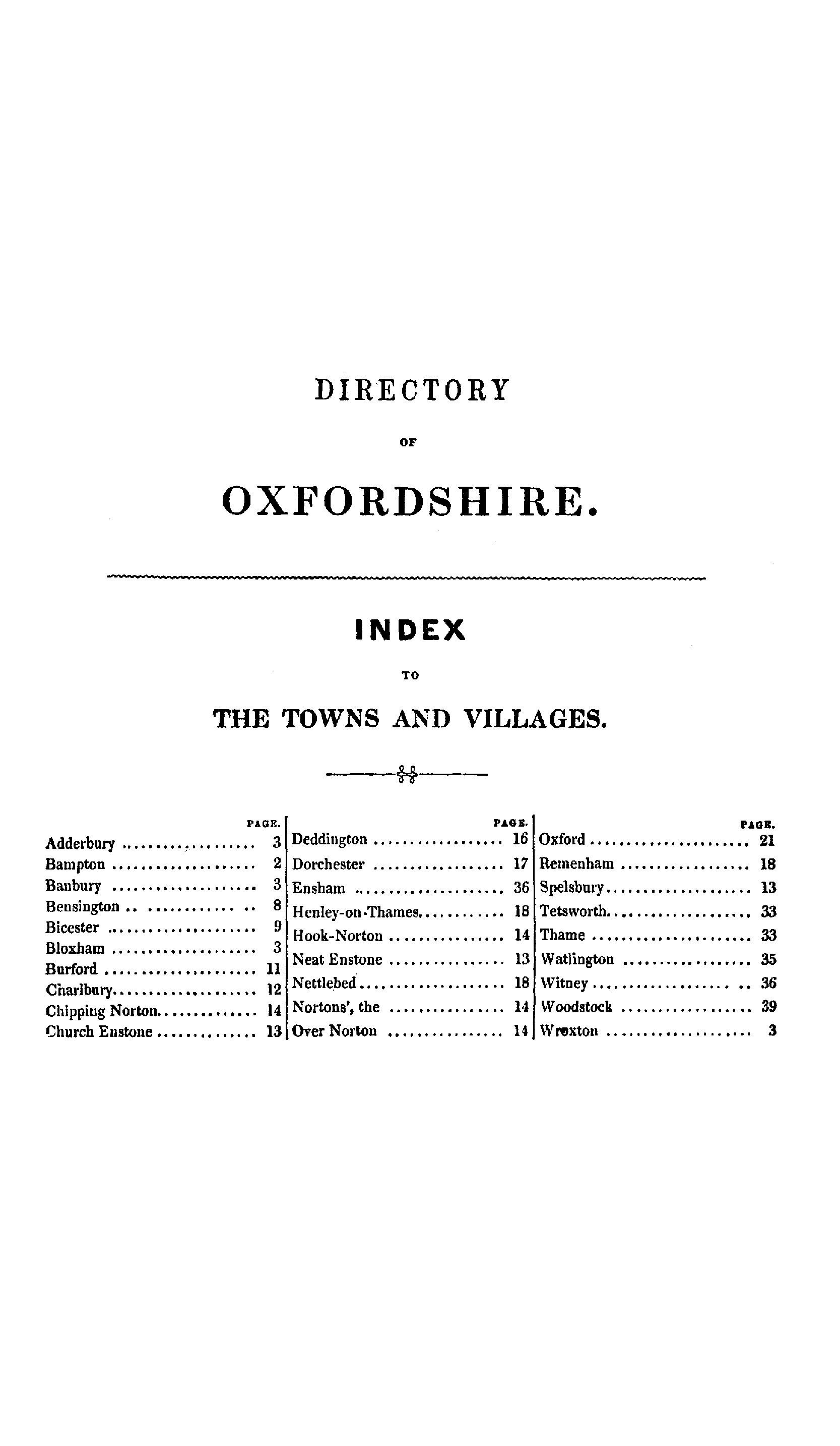 Pigot Directory of Oxfordshire, 1842 page  - click to open larger version in a new window