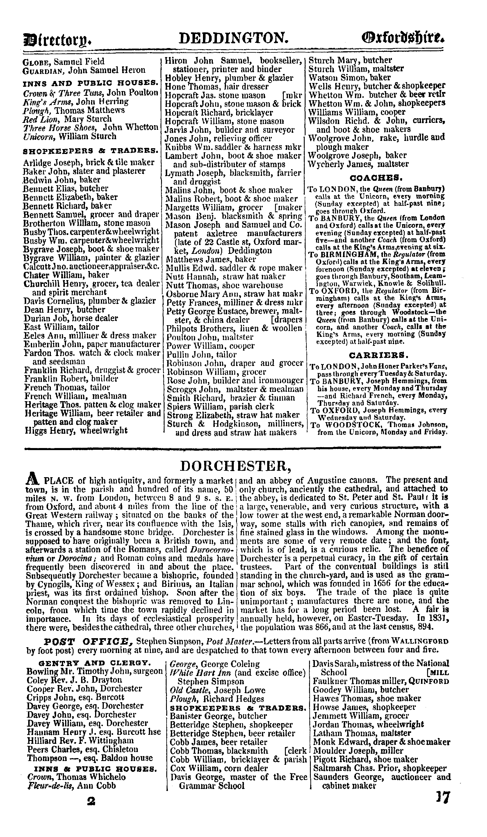 Pigot Directory of Oxfordshire, 1842 page 17 - click to open larger version in a new window