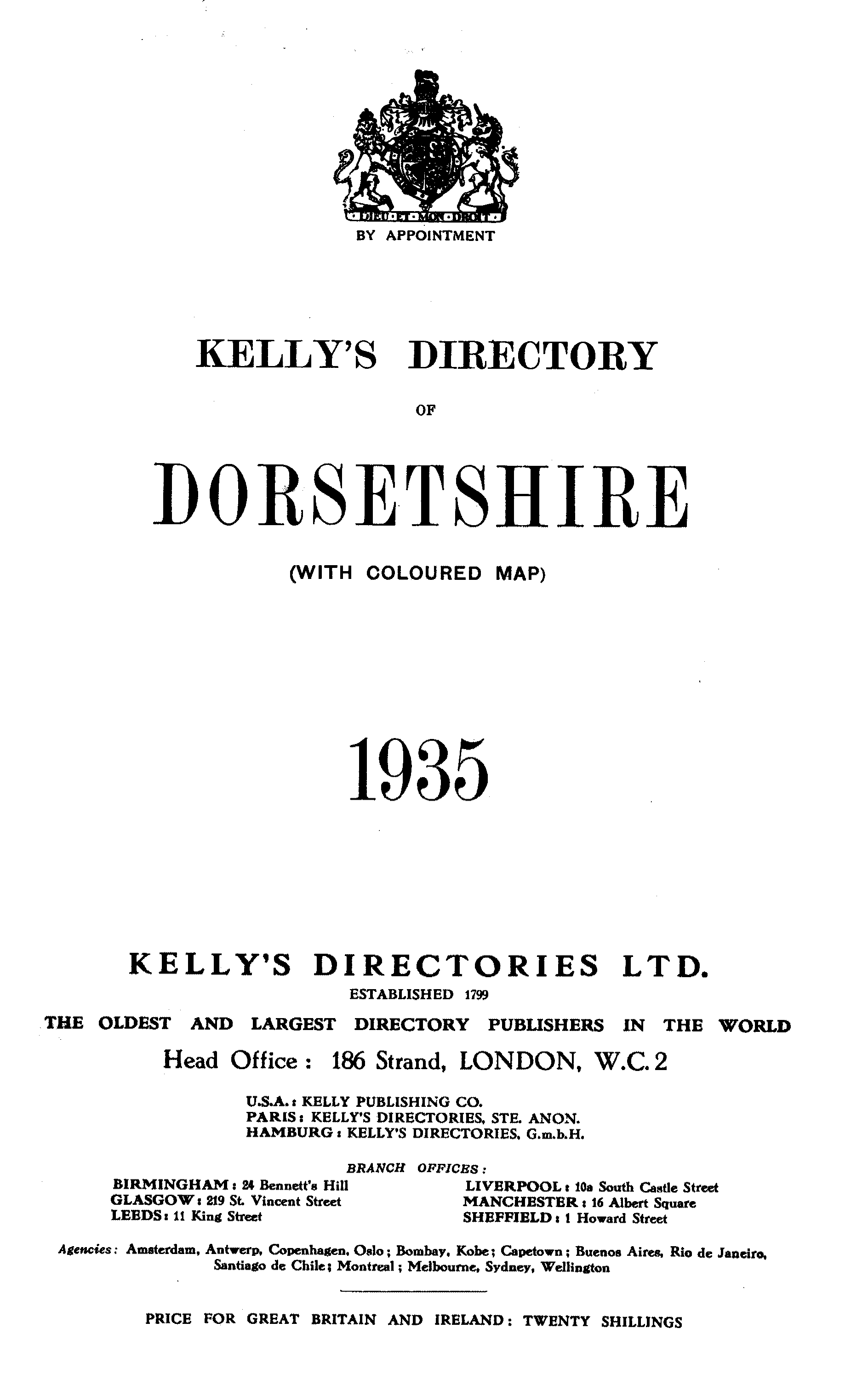 Kelly's Directory of Dorsetshire, 1935 page i - click to open larger version in a new window