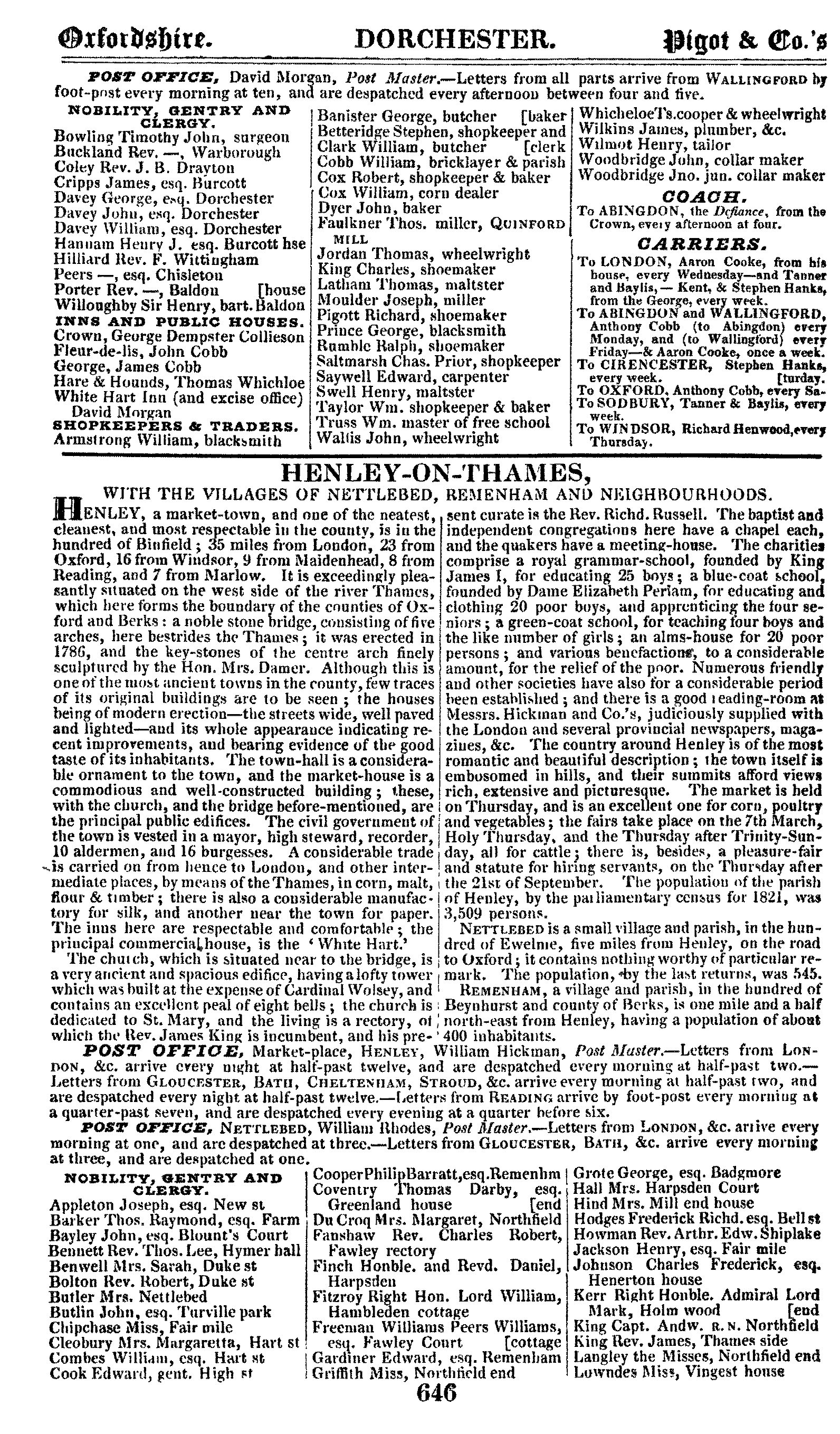 Pigot Directory of Oxfordshire, 1830 page 646 - click to open larger version in a new window