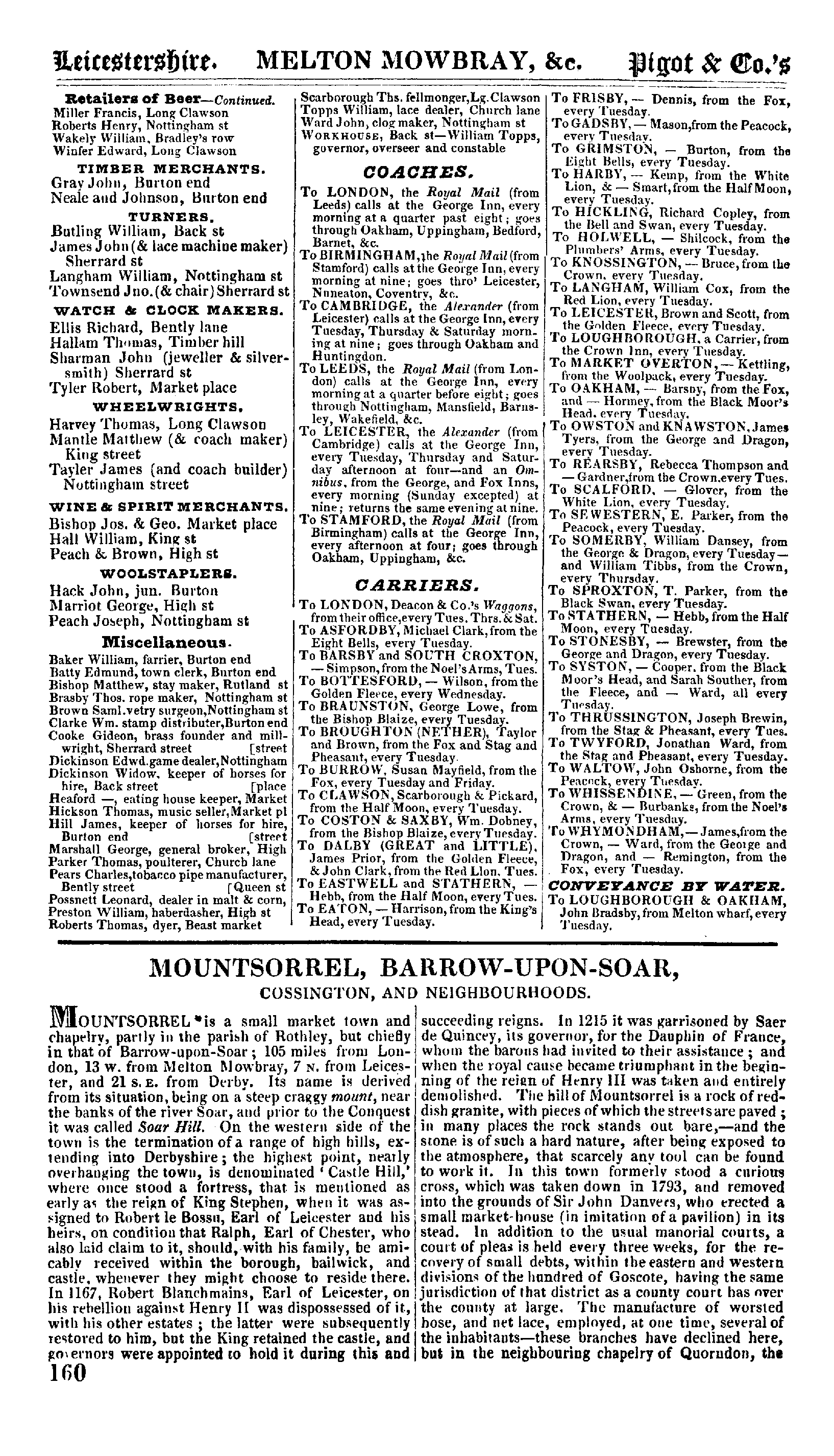Pigot and Co.'s Directory of Leicestershire and Rutland, 1835 page 160 - click to open larger version in a new window