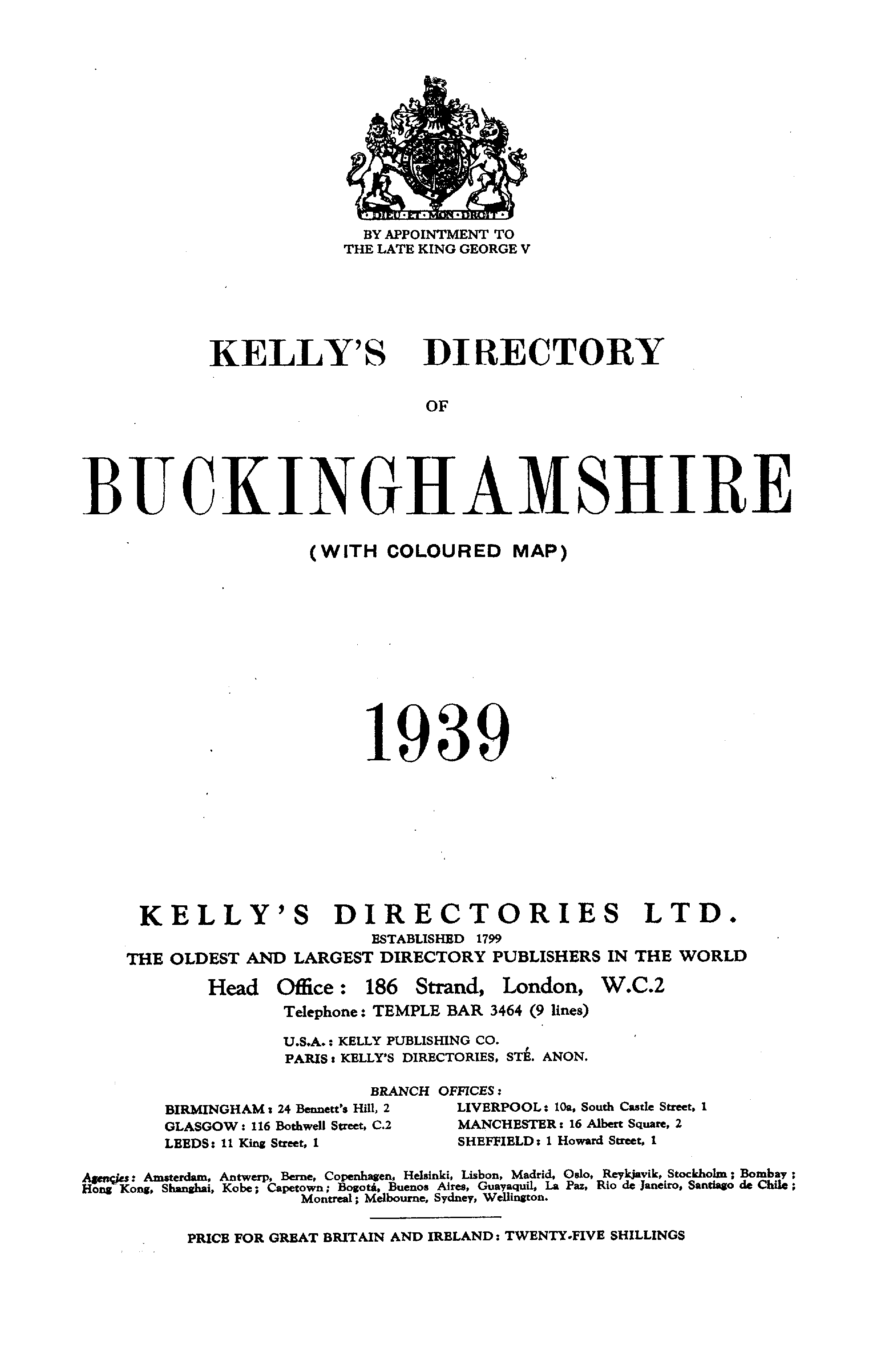 Kelly's Directory of Buckinghamshire, 1939 page i - click to open larger version in a new window