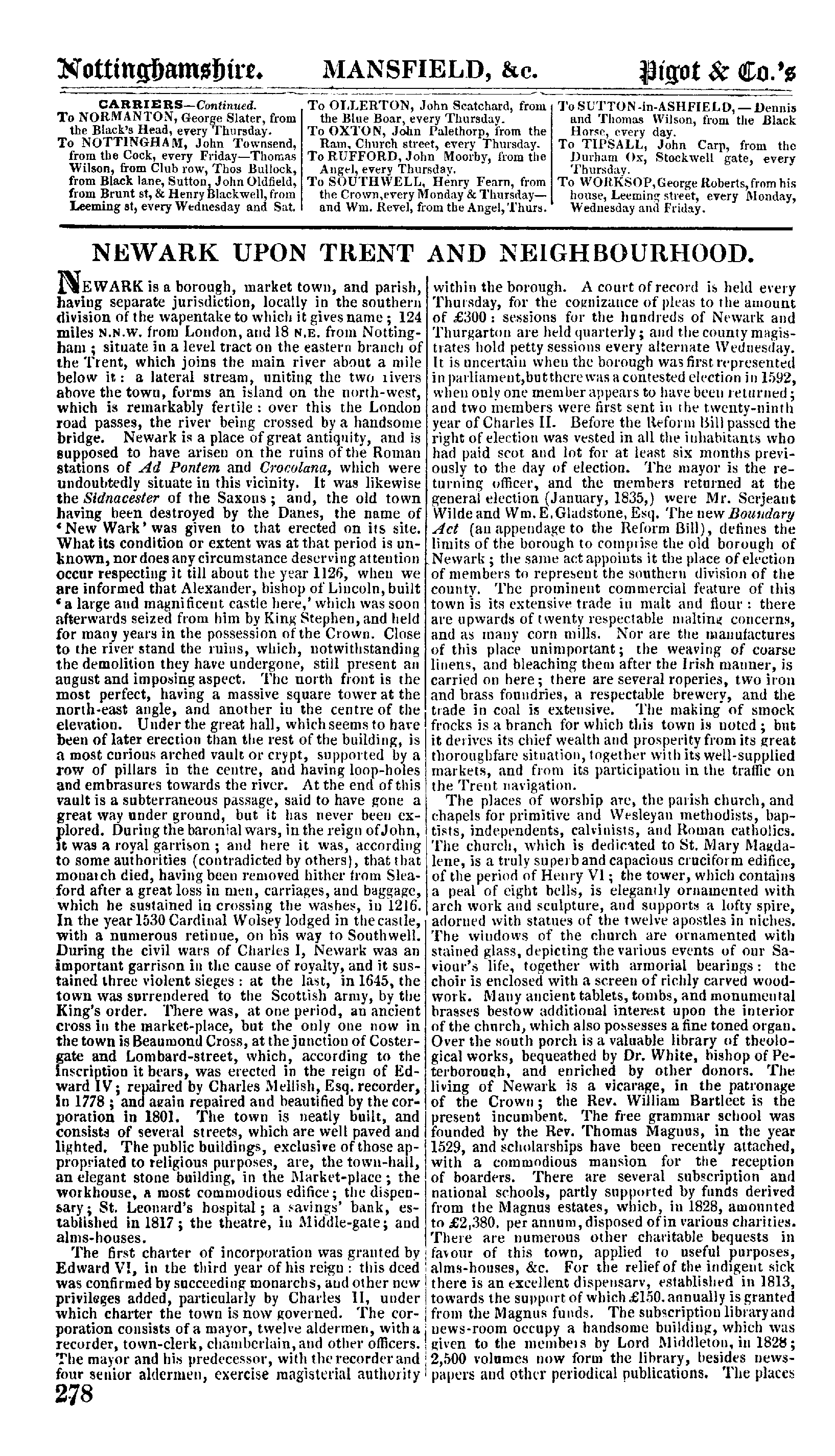 Pigot Directory of Nottinghamshire, 1835 page 278 - click to open larger version in a new window