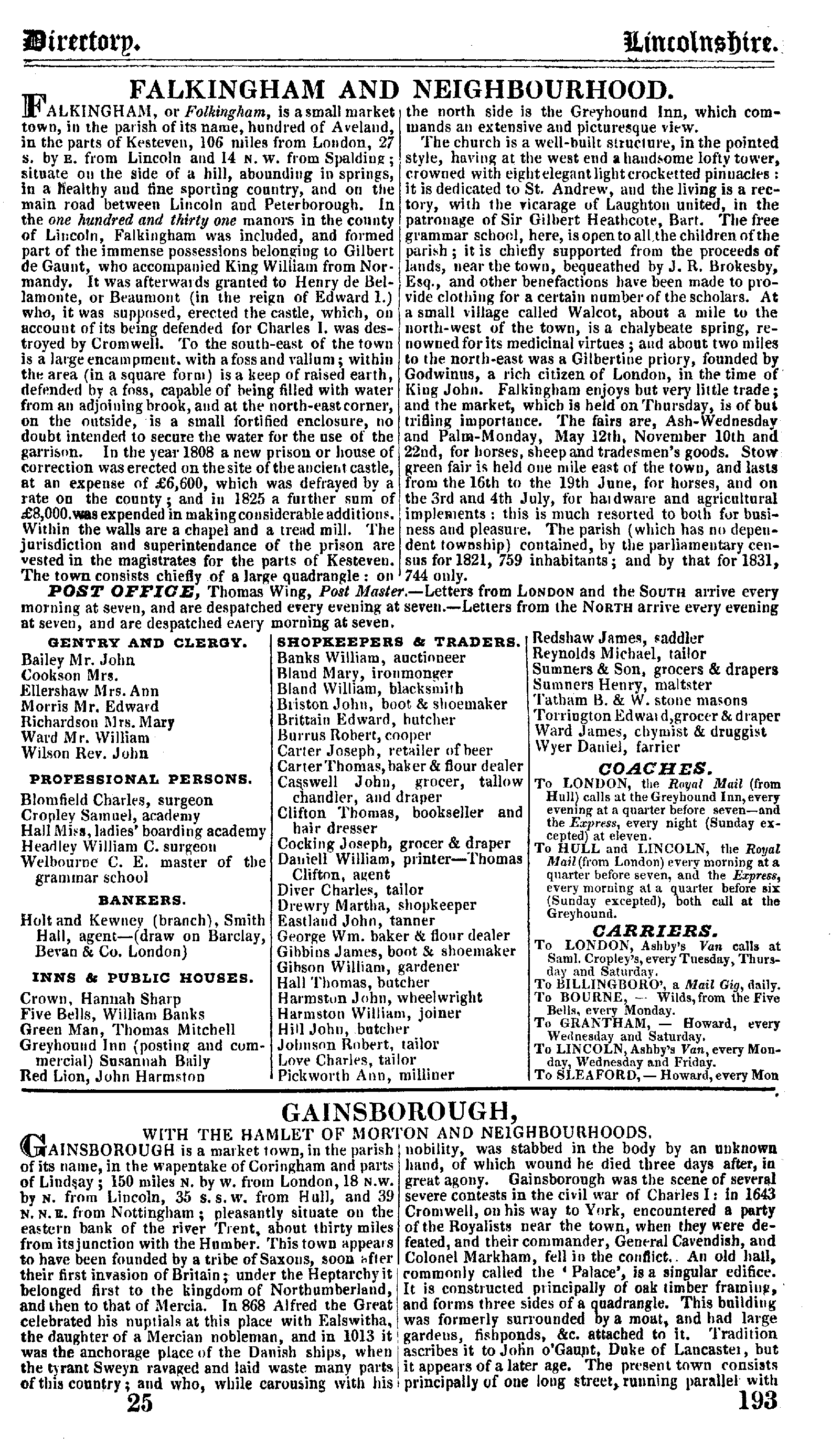Pigot Directory of Lincolnshire, 1835 page 193 - click to open larger version in a new window