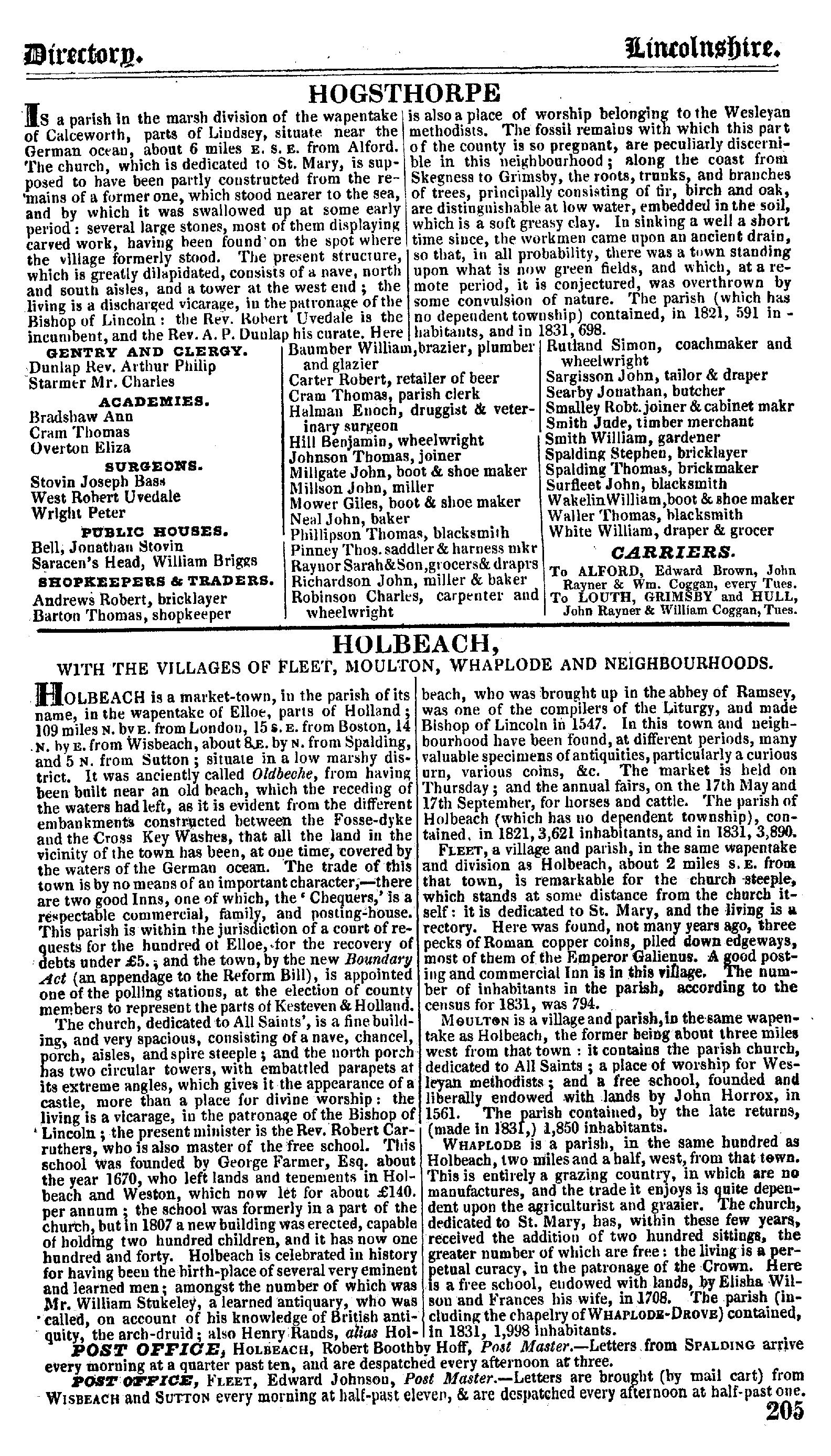 Pigot Directory of Lincolnshire, 1835 page 205 - click to open larger version in a new window